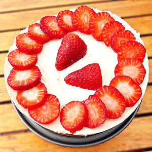 Strawberry Cheesecake with a Coconut Biscuit Base