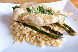 Baked Garlic Butter Chicken with Asparagus and Brown Rice