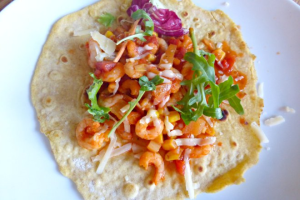 Homemade Tortillas with a Spicy Prawn Filling