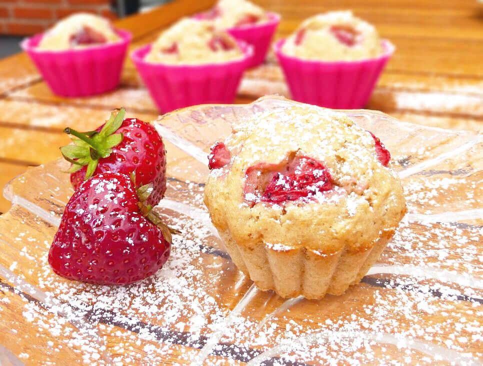 Healthier Wholemeal Strawberry Greek Yoghurt Muffins
