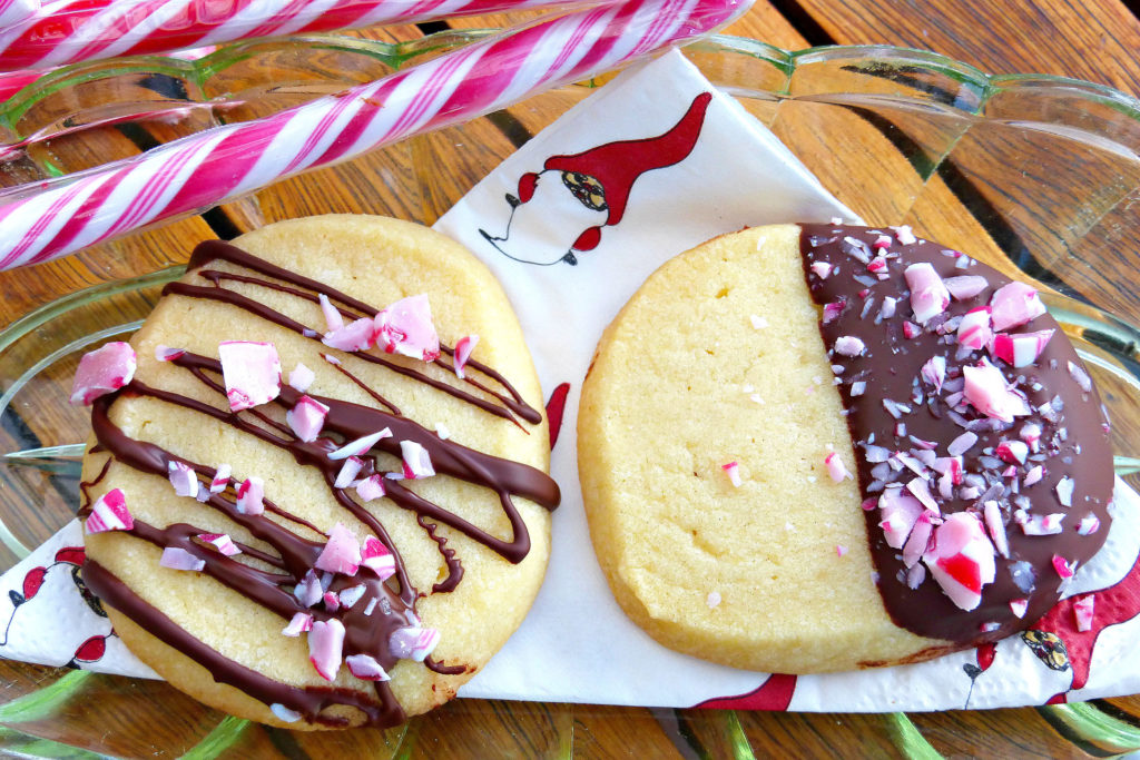 Christmas Butter Cookies with Candy Cane and Dark Chocolate