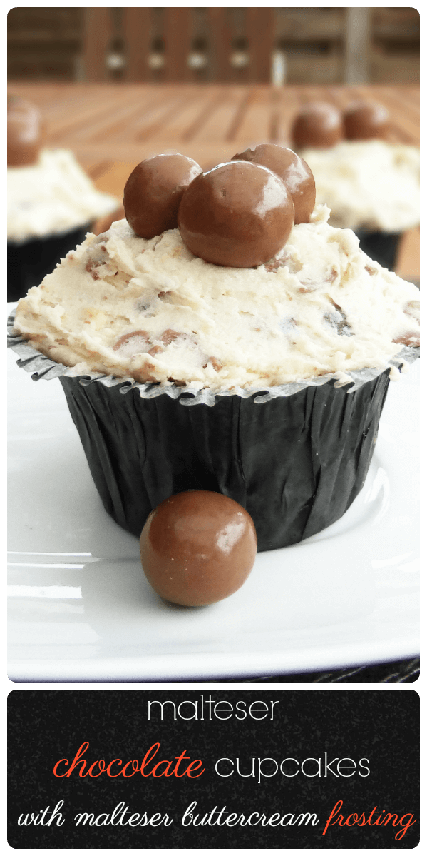 Malteser Chocolate Cupcakes with Malteser Buttercream Frosting