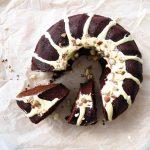 Chocolate Sockerkaka (Sugar Cake) with a White Chocolate Drizzle