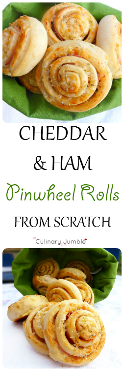 Cheddar and Ham Pinwheel Rolls from Scratch