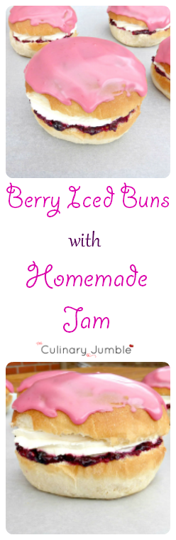 Berry Iced Buns with Cream and Homemade Jam