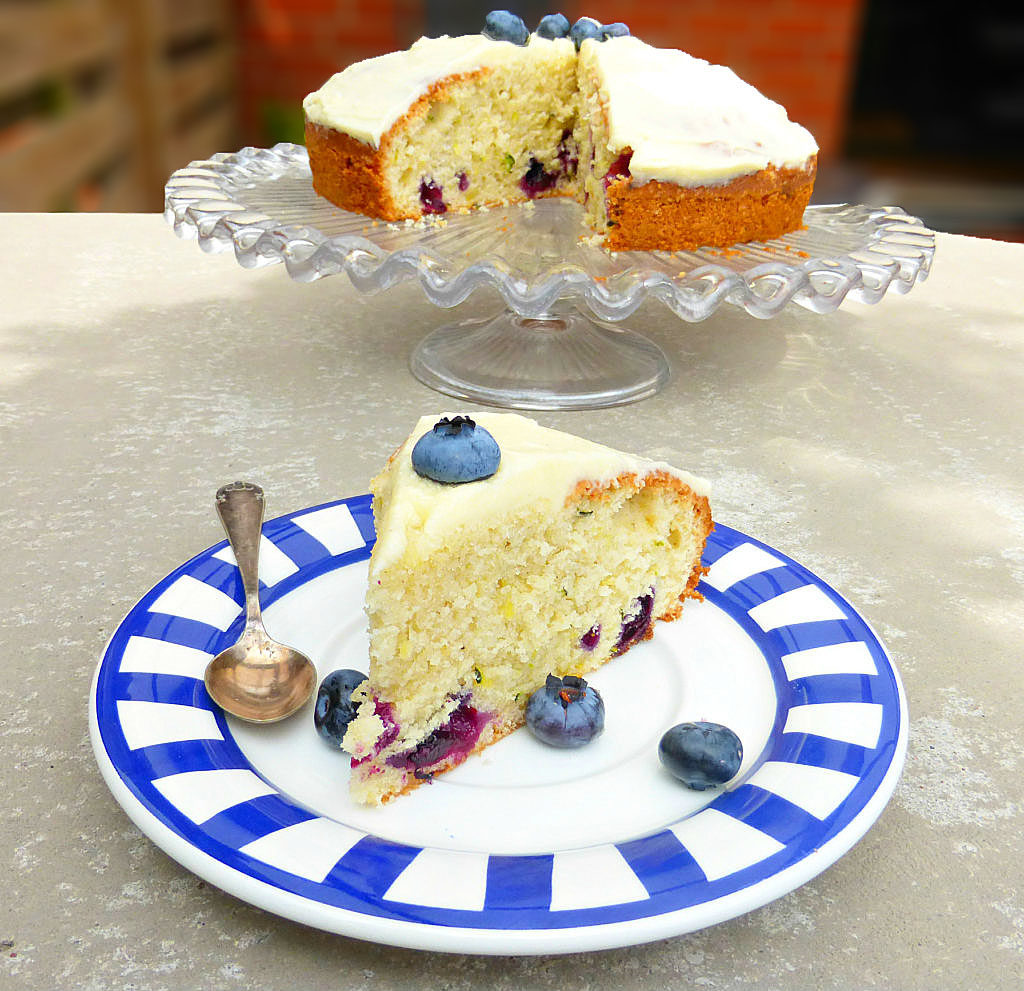 Blueberry and Courgette Cake with Lemon Buttercream Frosting