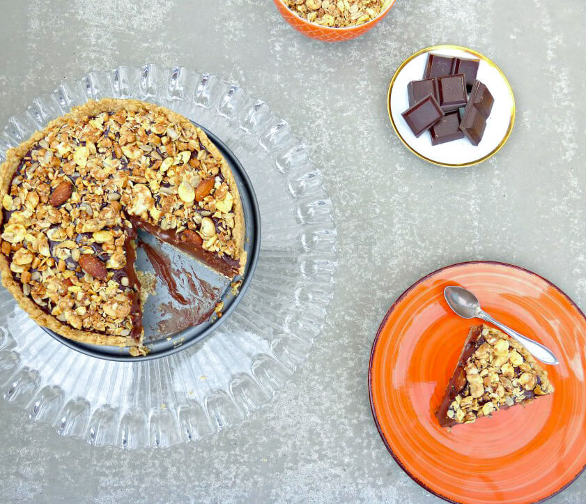 Chocolate Silk Pie with a Peanut Butter Granola Topping (gluten free)