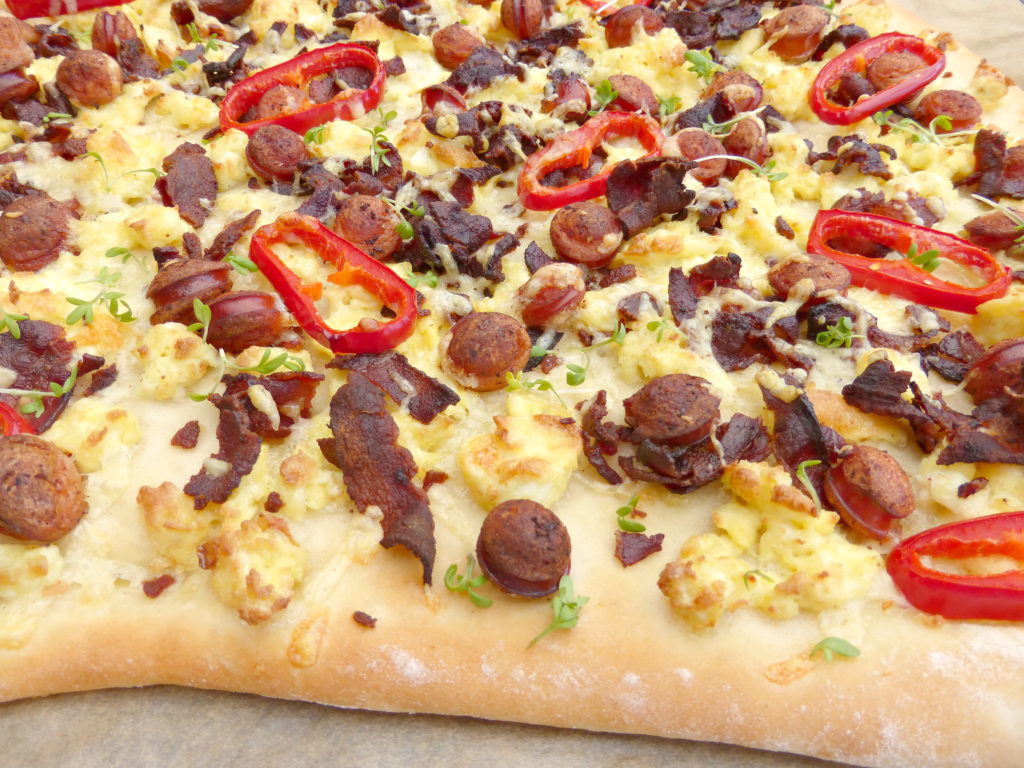 Sausage Bacon and Scrambled Egg Breakfast Pizza