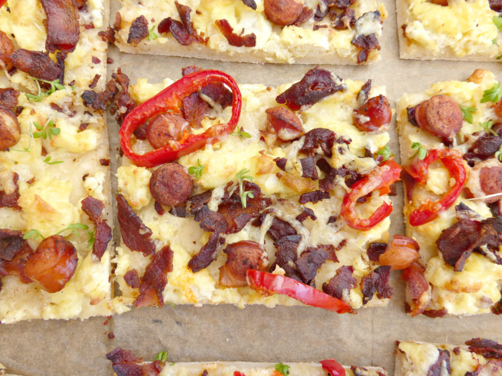 Sausage, Bacon and Scrambled Egg Breakfast Pizza