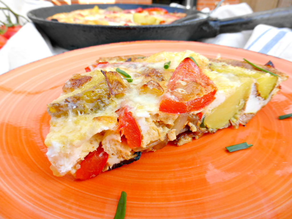 Spanish Style Omelette with Potatoes and Red Peppers