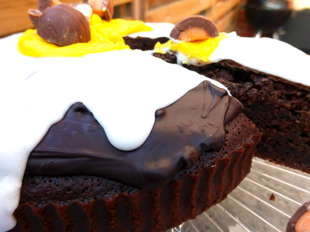 Crème Egg Cake with Chocolate Ganache and Fondant Icing