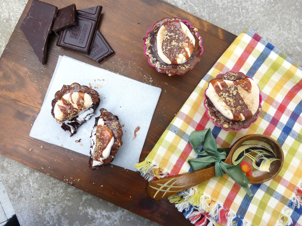 S'mores Molten Brownie Cupcakes with Marshmallow Frosting