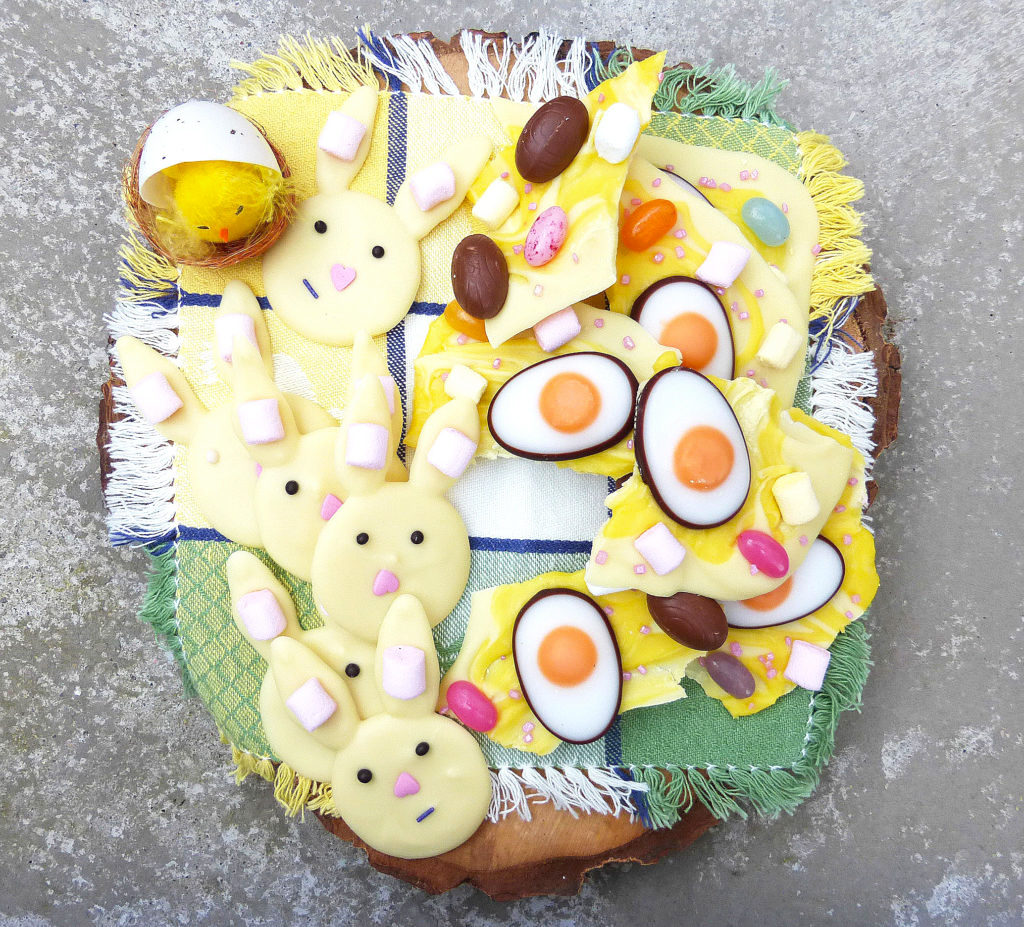 Two White Chocolate Easter Treats: Forlorn Bunnies and Eggy Bark