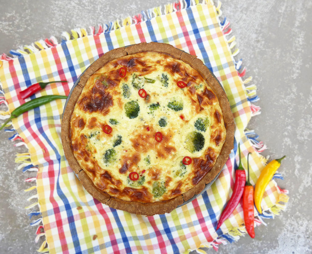 Blue Cheese, Broccoli and Chilli Quiche (with a homemade gluten free crust)