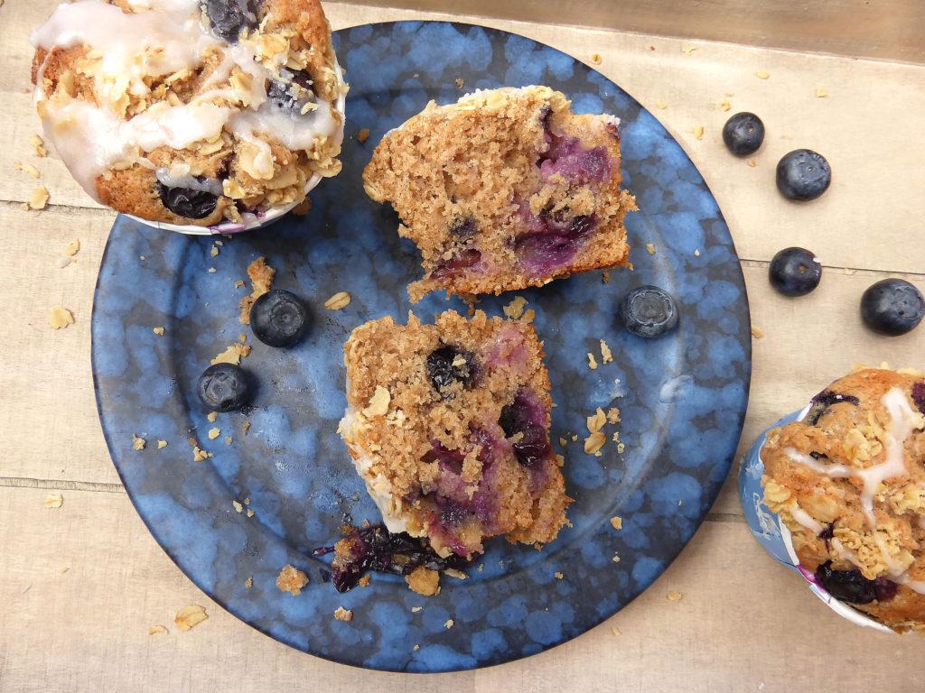 Gluten Free Brown Sugar Blueberry Muffins with a Greek Yoghurt Drizzle