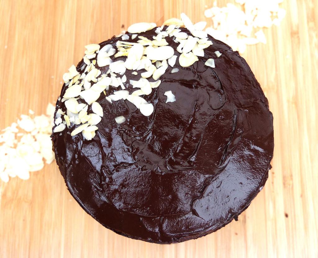 Chocolate Almond Cake with a Dark Chocolate Ganache (no refined sugar & GF)