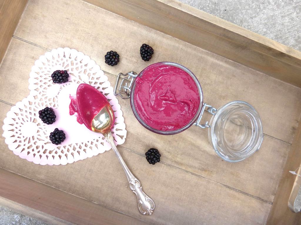 Homemade Blackberry Curd (reduced sugar and butter)