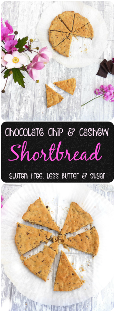 Simple chocolate chip and cashew shortbread