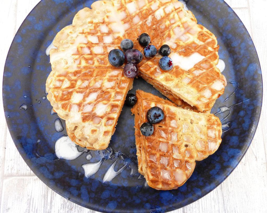 Cinnamon Bun Gluten Free Waffles with a Greek Yoghurt Drizzle