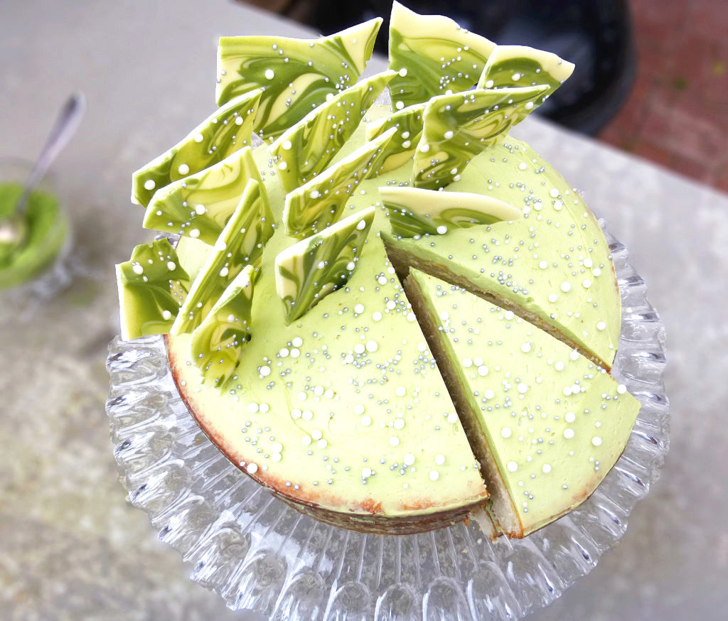 White Chocolate Layer Cake with a White Chocolate Matcha Frosting