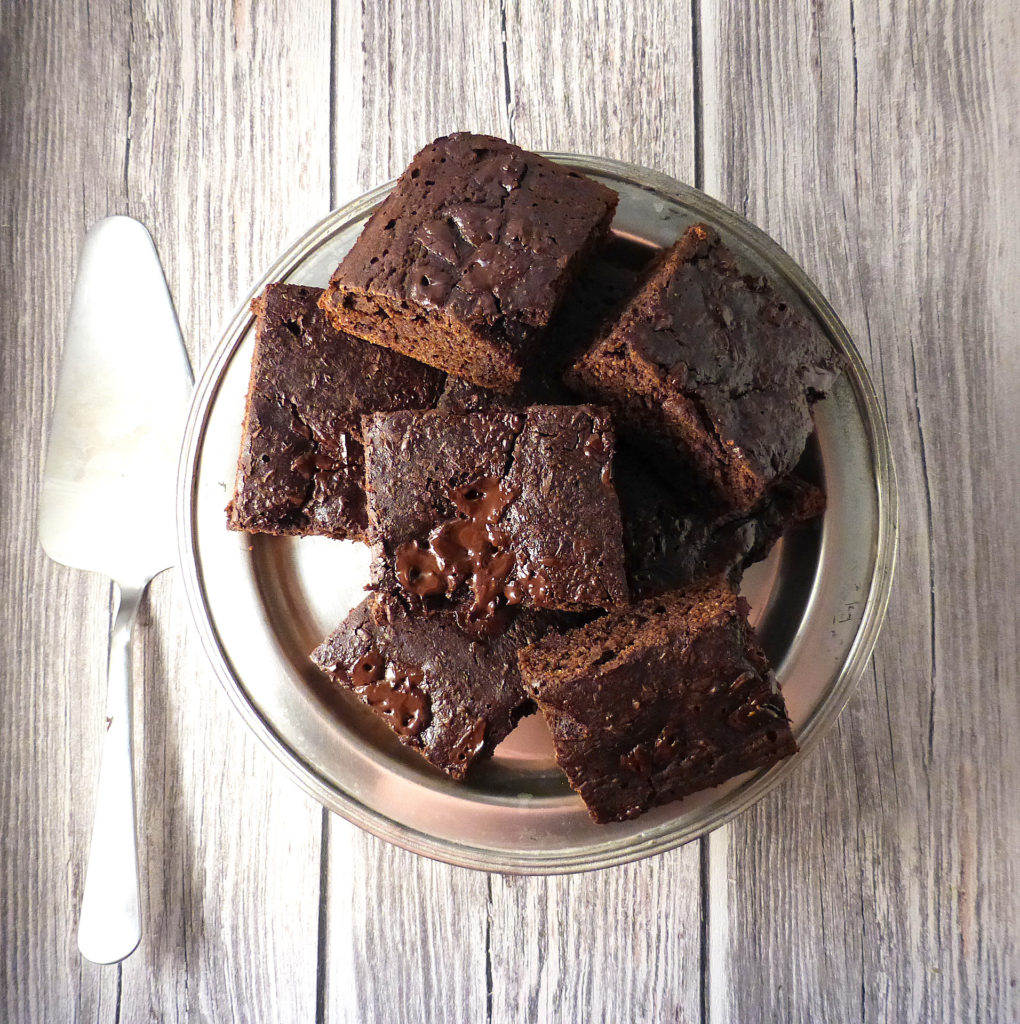 Mocha Dark Chocolate Brownies (gluten free & seriously low fat)