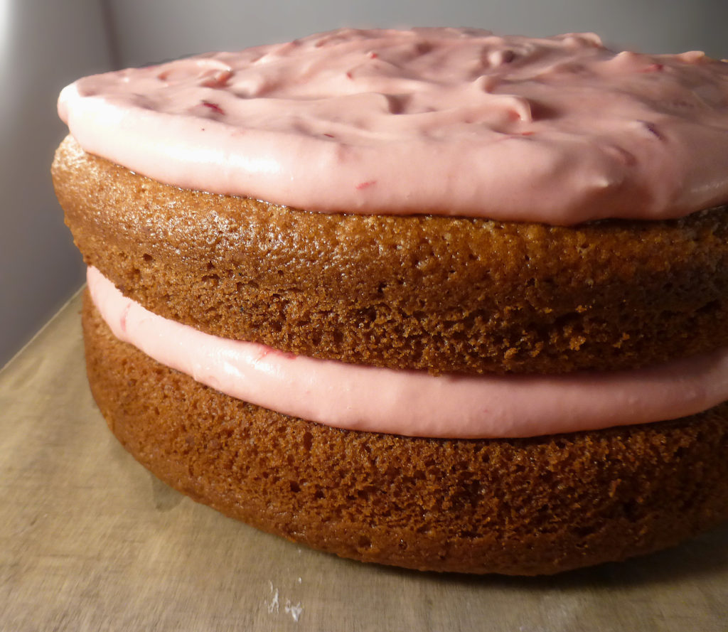 Vanilla Olive Oil Cake with Cherry & Raspberry Frosting (gluten free)