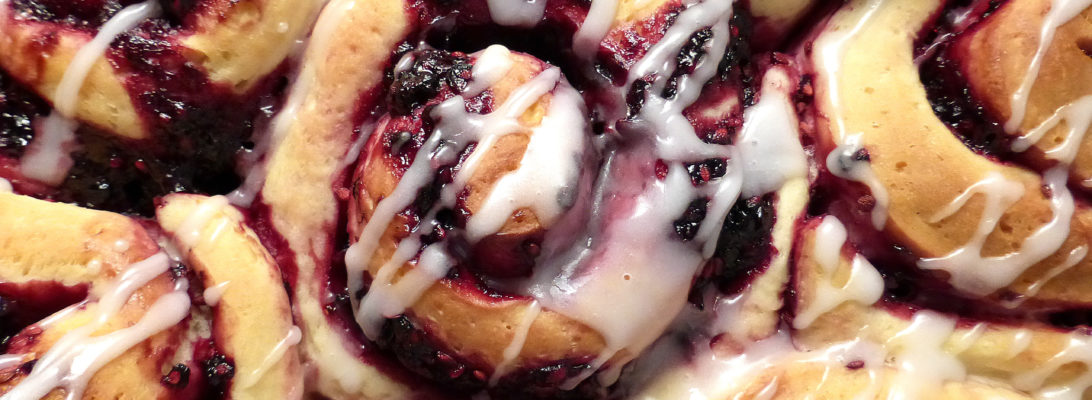 Blackberry Swirl Skillet Overnight Buns