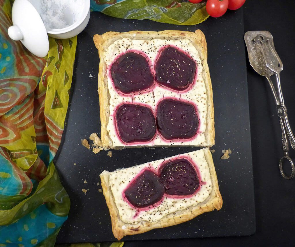 Beetroot and Black Pepper Savoury Puff Pastry with Greek Yoghurt and Cream Cheese