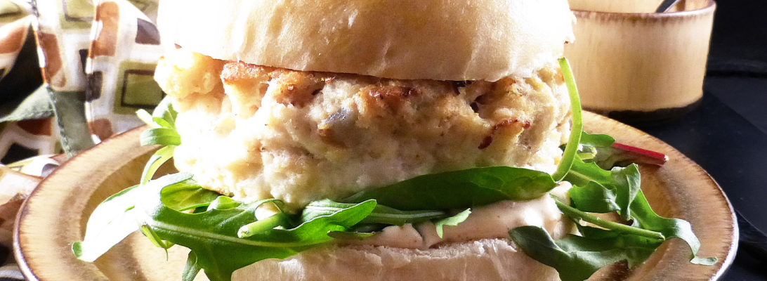 Fish Burgers with a Spicy Mayonnaise in Homemade Brioche Buns