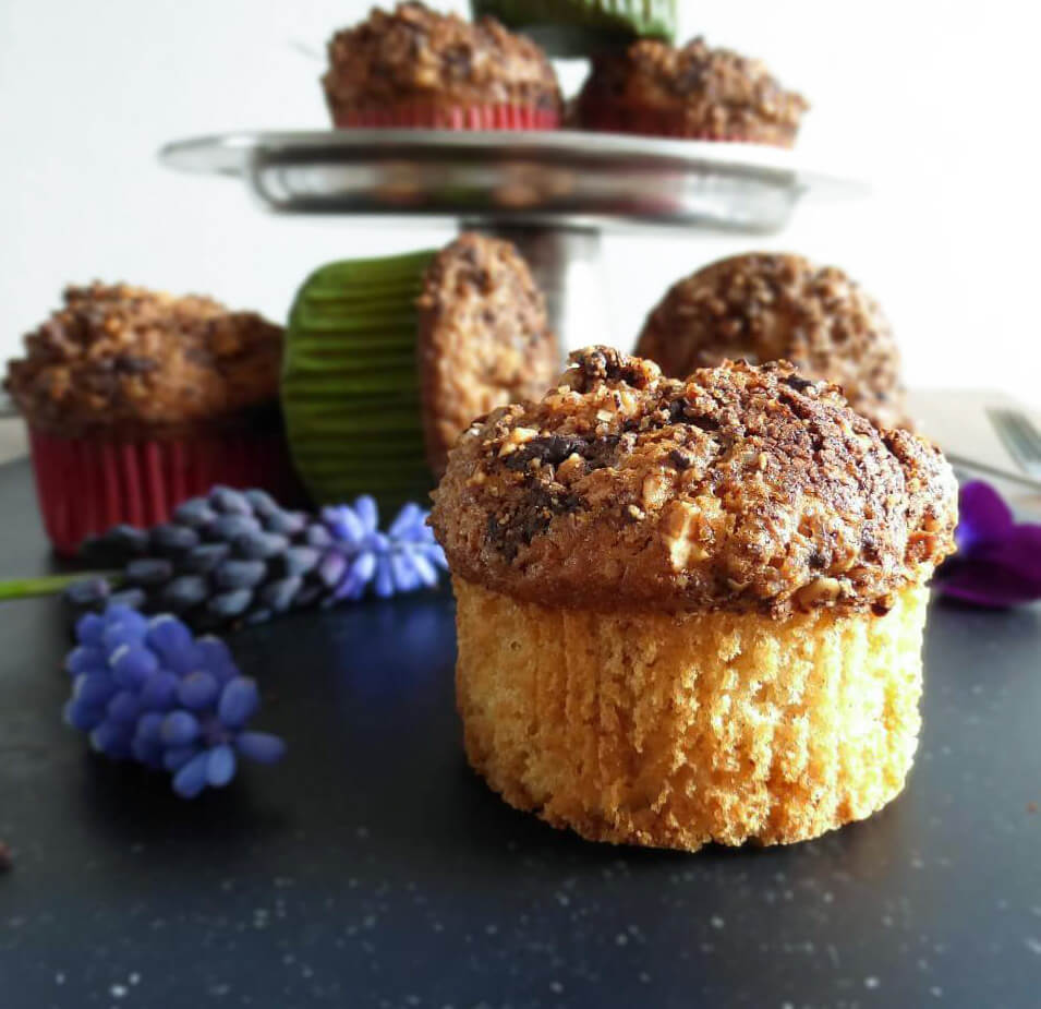 Gluten Free Vanilla Muffins with a Dark Chocolate and Hazelnut Topping
