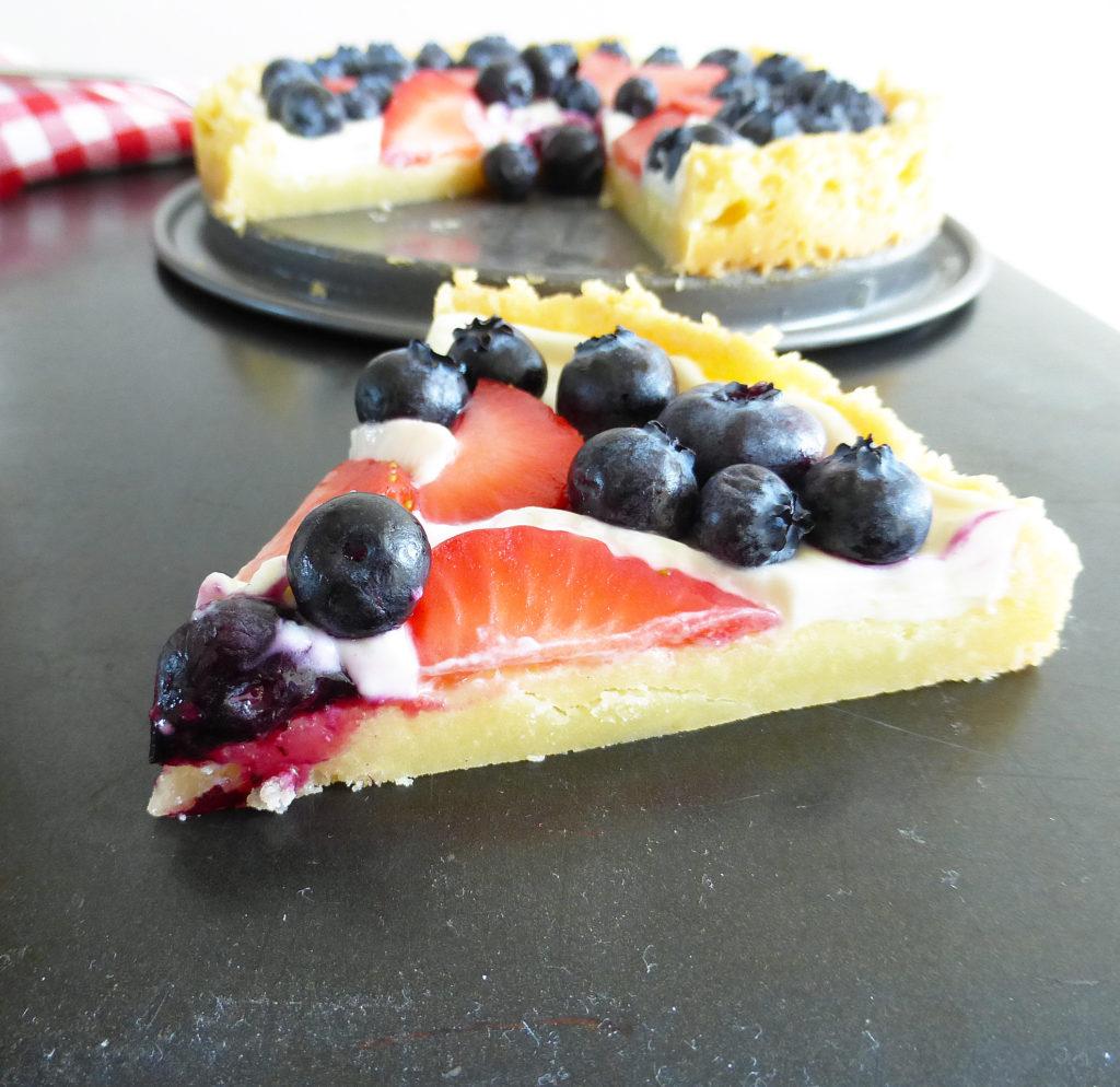 Gluten Free Lemon Cookie Pizza with Strawberries & Blueberries