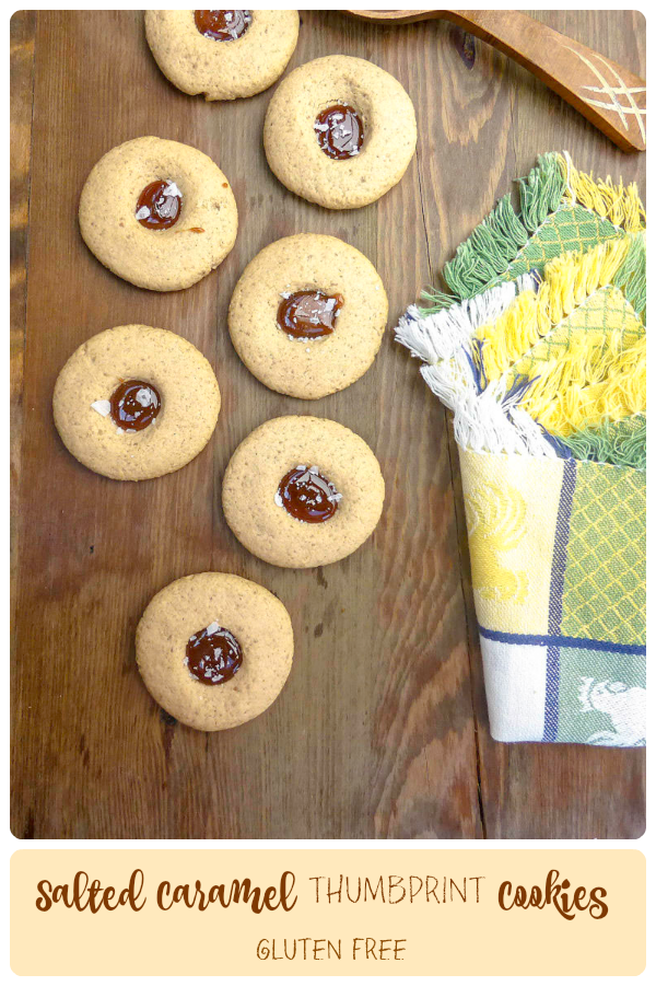Gluten Free Salted Caramel Thumbprint Cookies (low fat & sugar)