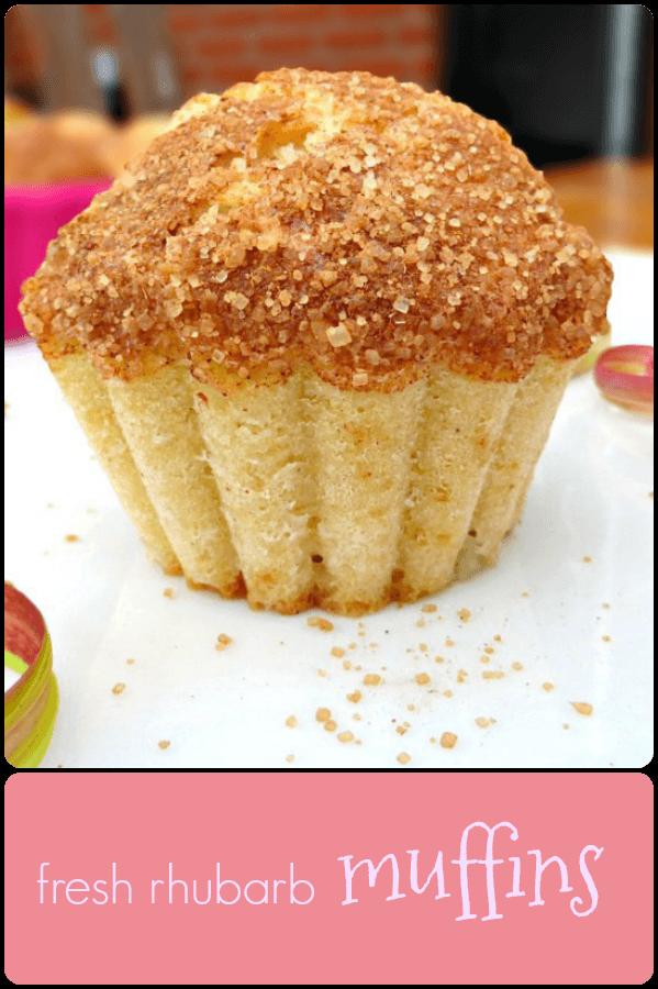 Fresh Rhubarb Muffins with a Brown Sugar Sprinkle