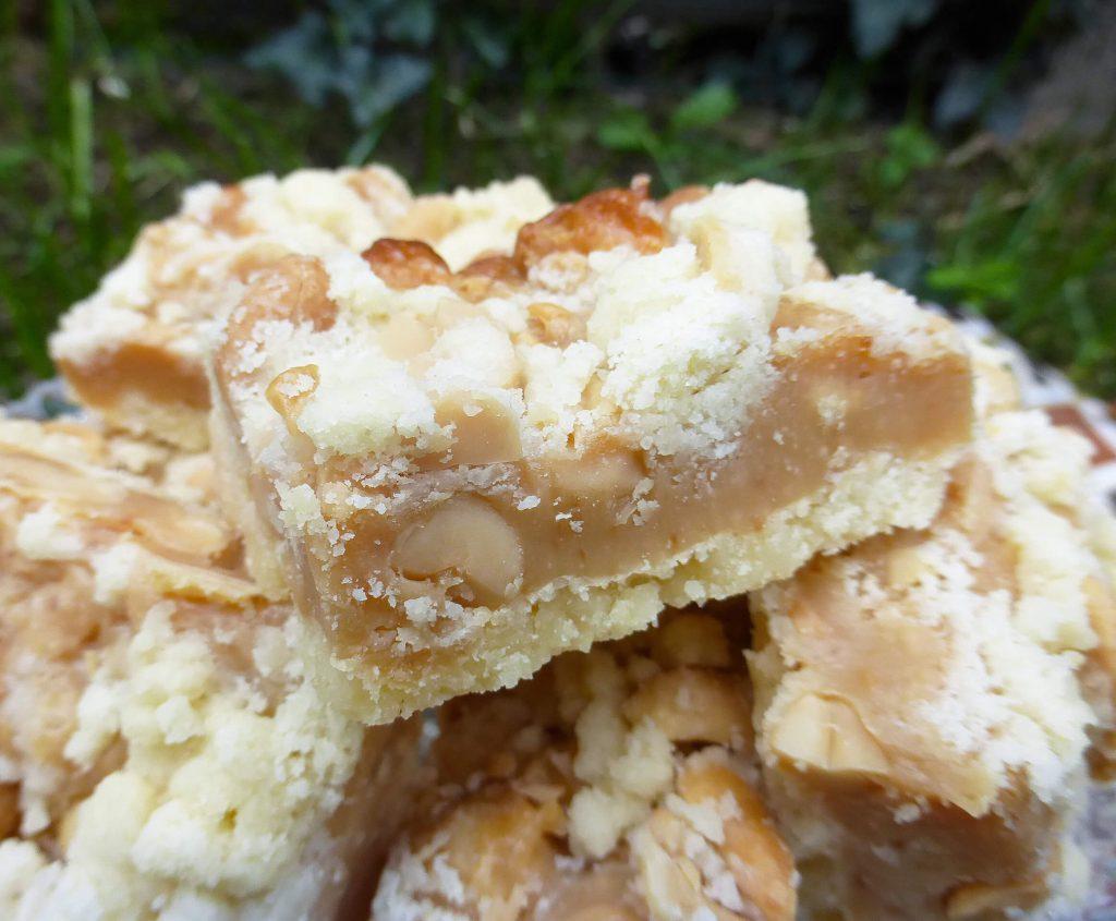 Salted Peanut Caramel Shortbread Crumb Bars (Gluten Free)