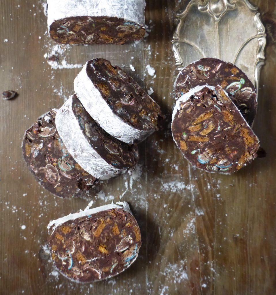 No-Bake Christmas Chocolate Salami